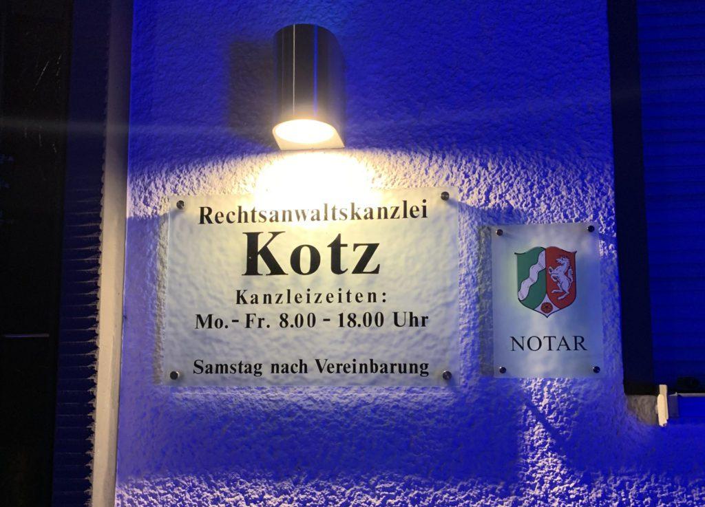 Notar Dr. Kotz und Kanzlei Kotz Eingangsschild