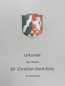 Urkunde Notar Kotz Kreuztal